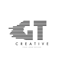 Gt g t zebra letter logo design with black and vector