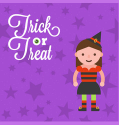 halloween character girl in witch costume on star vector image