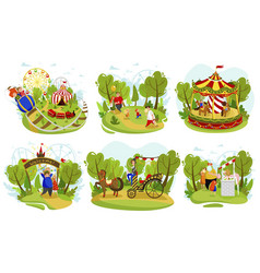 Happy family together in summer amusement park vector