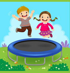 Happy kids jumping on trampoline in the backyard vector