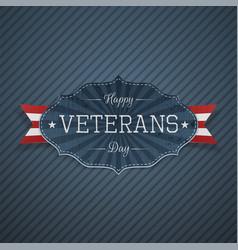Happy veterans day paper label vector