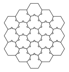 Hexagonal Jigsaw Puzzle Template Royalty Free Vector