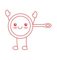 Kitchen pan kawaii character vector