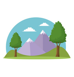 Landscape travel vacation mountain trees grass sky vector
