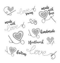 Lettering logo set sewing embroidery theme with vector
