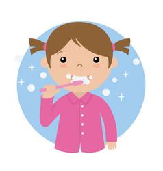 Little girl brushing her teeth vector