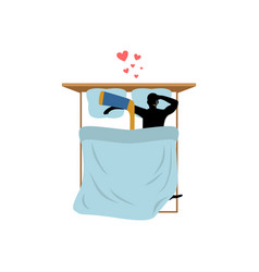 lover hockey guy and hockey stick in bed lovers vector image