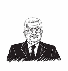Mahmoud abbas president of palestine black white vector