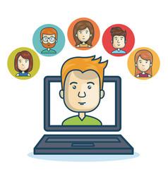 man community online smartphone design vector image