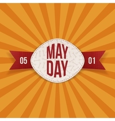 May Day Text on realistic Banner with red Ribbon vector