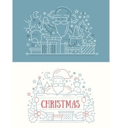 Merry Christmas - line design cards vector image