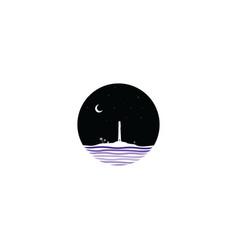 Midnight scene lighthouse sign symbol vector