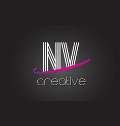 nv n v letter logo with lines design and purple vector image