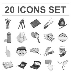 painter and drawing monochrome icons in set vector image