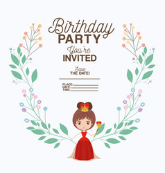 princess with floral decoration invitation card vector image