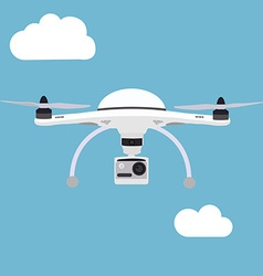 Remote air drone with a camera flying in the sky vector