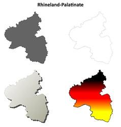 Rhineland-Palatinate blank outline map set vector
