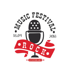 rock music legendary festival logo black and red vector image