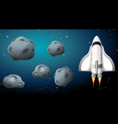Rocket and asteroid scene vector