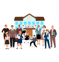 school building teachers and students vector image