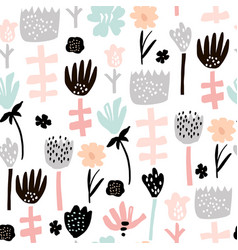 seamless pattern with hand drawn flowers creative vector image
