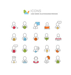 Set linear icons business profession vector