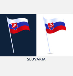 set slovakia waving flag on isolated background vector image