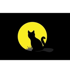 Silhouette of a black cat over moonlight vector image