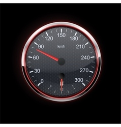 Speedometer on black background red backlight vector