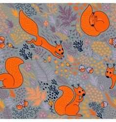 Squirrels in woods vector