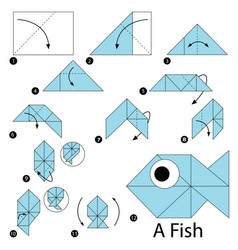 Step instructions how to make origami a fish vector