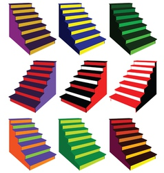 Steps in various color combinations vector