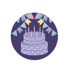 sweet cake with candles in frame circular vector image