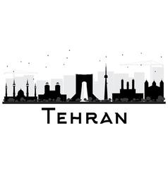 Tehran City skyline black and white silhouette vector