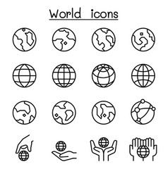 World earth icon set in thin line style vector