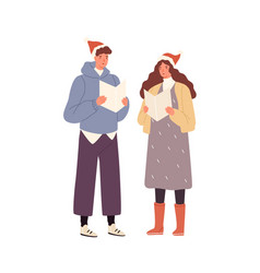 young cheerful couple singing xmas carols together vector image