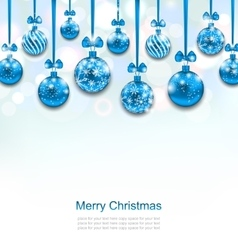 Christmas Blue Glassy Balls with Bow Ribbon vector image vector image