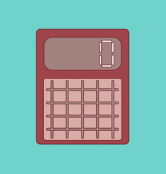 flat icon with thin lines calculator vector image