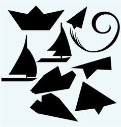 Origami plane and ship vector image