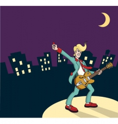 rock and roll guitarist vector image