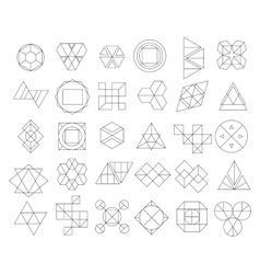 Set of outline hipster logos and design elements vector image vector image