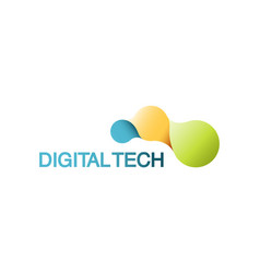 template logo for digital technology vector image