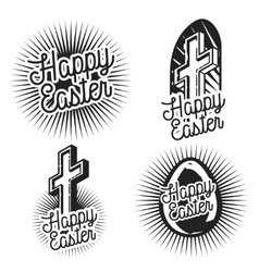 Vintage easter emblems vector