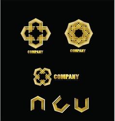 Abstract company gold logo icon vector image