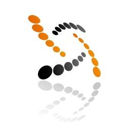 Abstract orange and grey symbol vector