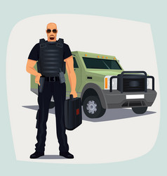 cash and valuables in transit guard man vector image vector image