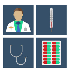 doctor thermometer stergoscopemedical icon vector image