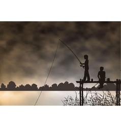 fishing boys vector image vector image