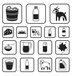 milk product black icons in set collection for vector image vector image