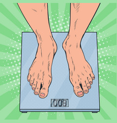 Pop art male feet on weighing scales vector